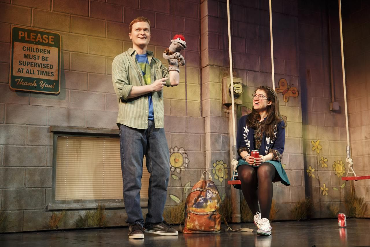 Steven Boyer and Sarah Stiles in a scene from Robert Askins' HAND TO GOD on Broadway.