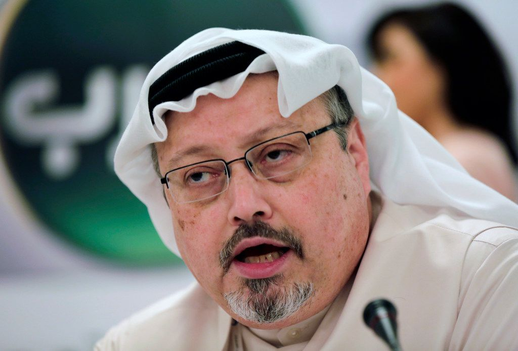 The late Saudi journalist Jamal Khashoggi speaks during a press conference in Manama, Bahrain, in 2014.  The Washington Post columnist, who wrote critically about the Saudi crown prince, was killed inside the Saudi Consulate in Istanbul in October 2018.