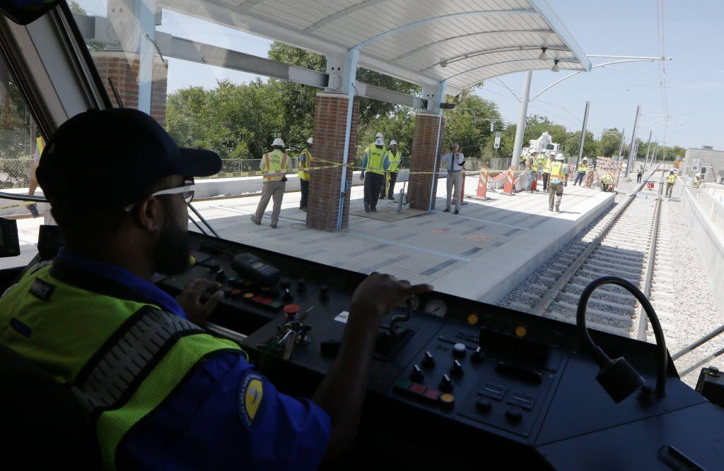 DART rail operator Jerome Watts ran the first live wire test on the South Oak Cliff Corridor Blue Line Extension from Ledbetter Station to the UNT Station on July 21. (David Woo/Staff Photographer)