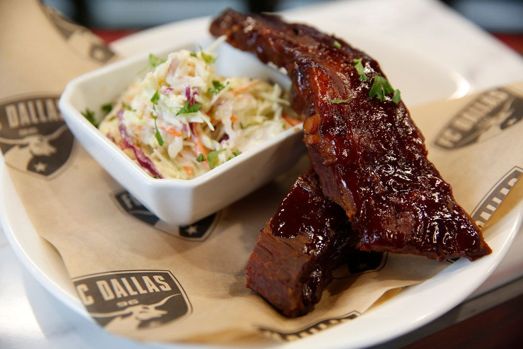 The smoked rib plate with homemade cole slaw photographed at Toyota Stadium in Frisco, Texas on Wednesday, Feb. 20, 2019. The item is part of FC Dallas' new culinary offerings for the season. (Rose Baca/Staff Photographer)