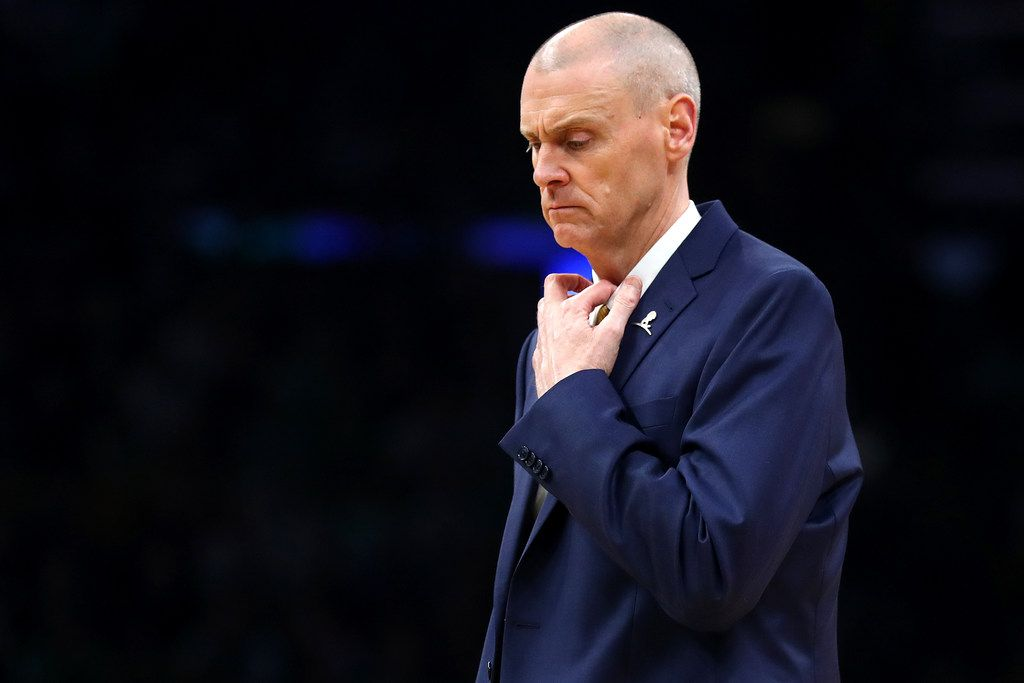 Rick Carlisle watched his team fight from behind all night because of sloppy ballhandling in the first minutes of Friday's 114-93 loss to Boston. (Photo by Maddie Meyer/Getty Images)