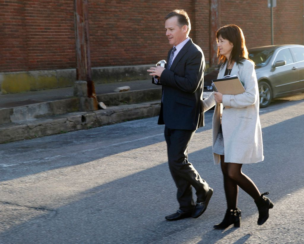 Mark Jordan and former Richardson Mayor Laura Jordan leave the Paul Brown Federal Building United States Courthouse in Sherman, Texas on Tuesday, February 12, 2019. The feds say Laura Jordan accepted money, gifts and other favors from Mark Jordan in exchange for voting for a controversial rezoning involving his large apt development in the city. (Vernon Bryant/The Dallas Morning News)