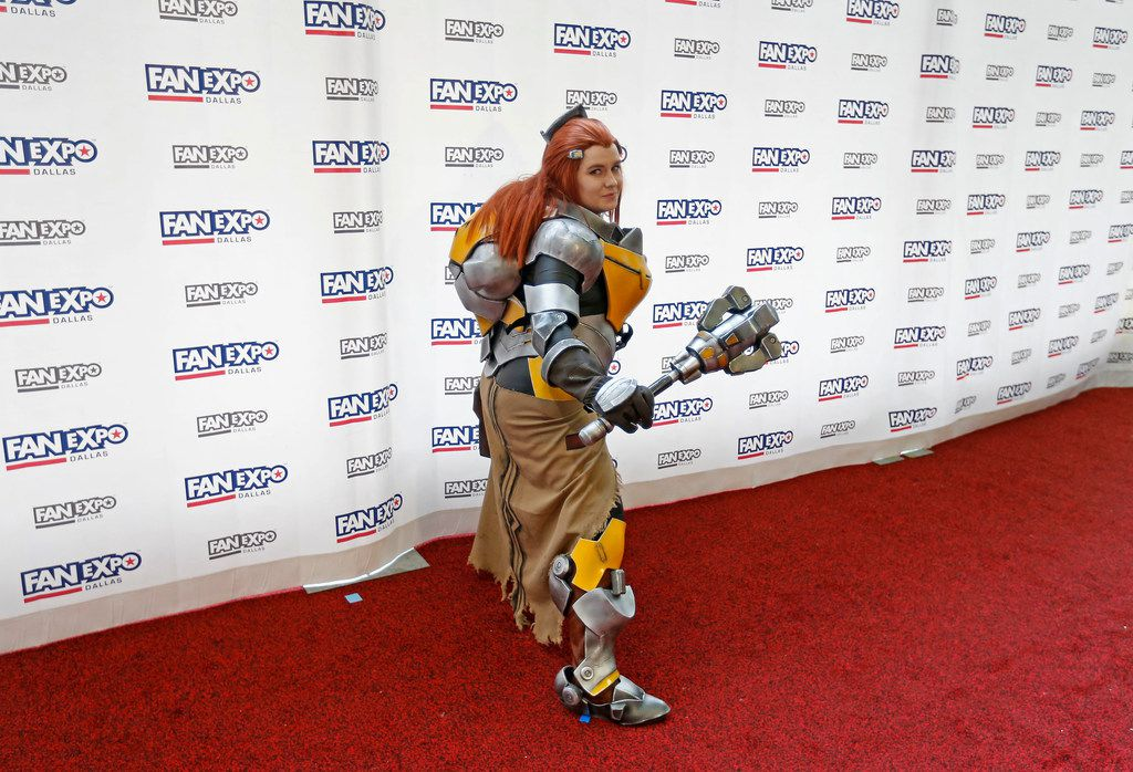 A person wearing a costume poses for a photograph at the Cosplay Red Carpet during the FAN EXPO Dallas at Kay Bailey Hutchison Convention Center in Dallas, Saturday, April 7, 2018. (Jae S. Lee/The Dallas Morning News)