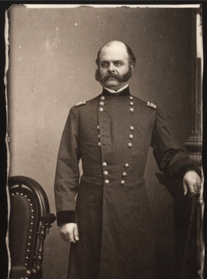 """Union Gen. Ambrose E. Burnside posed for photographer Mathew Brady in 1862, during the American Civil War. Burnside's portrait is featured in the exhibition, """"Mathew Brady's Photographs of Union Generals,"""" at the Smithsonian Institution's National Portrait Gallery in Washington, D.C., through May 31, 2015."""