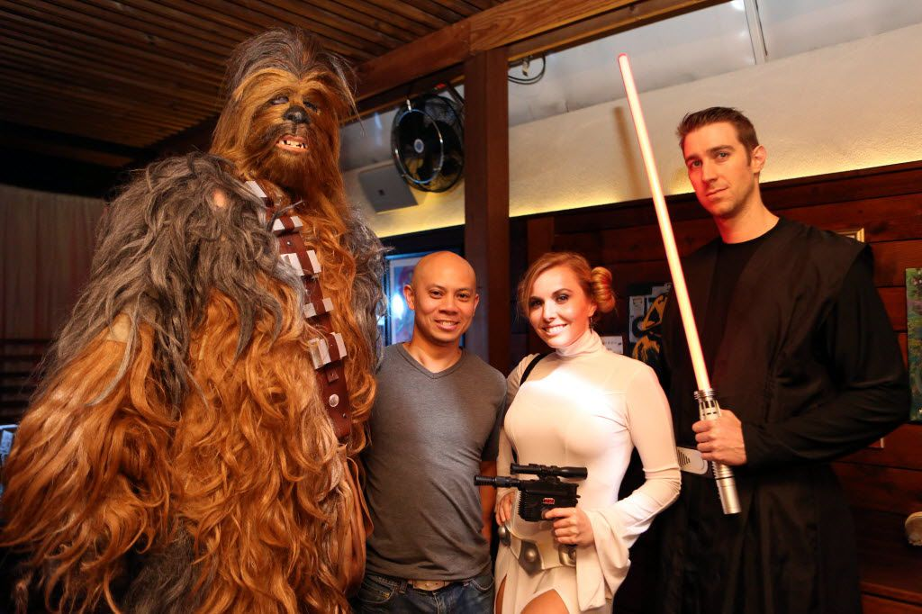 "Dan Madsen, DJ Johnny 5, Krystle Starr (CQ) and Adam Samaze (CQ) attend Sisu Uptown's ""May the Fourth Be With You"" Star Wars party in Dallas, Texas, Monday, May 5, 2015. (Allison Slomowitz/ Special Contributor)"