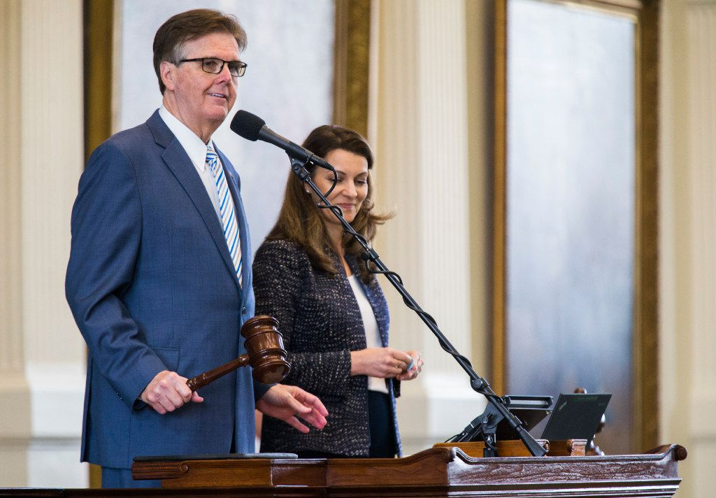 Lt. Governor Dan Patrick bangs a gavel to signify that the senate would adjourn until 12:01 a.m. on Thursday for a third reading of SB 20, the Sunset Act, during the second day of a special legislative session on Wednesday, July 19, 2017 at the Texas state capitol in Austin, Texas. (Ashley Landis/The Dallas Morning News)