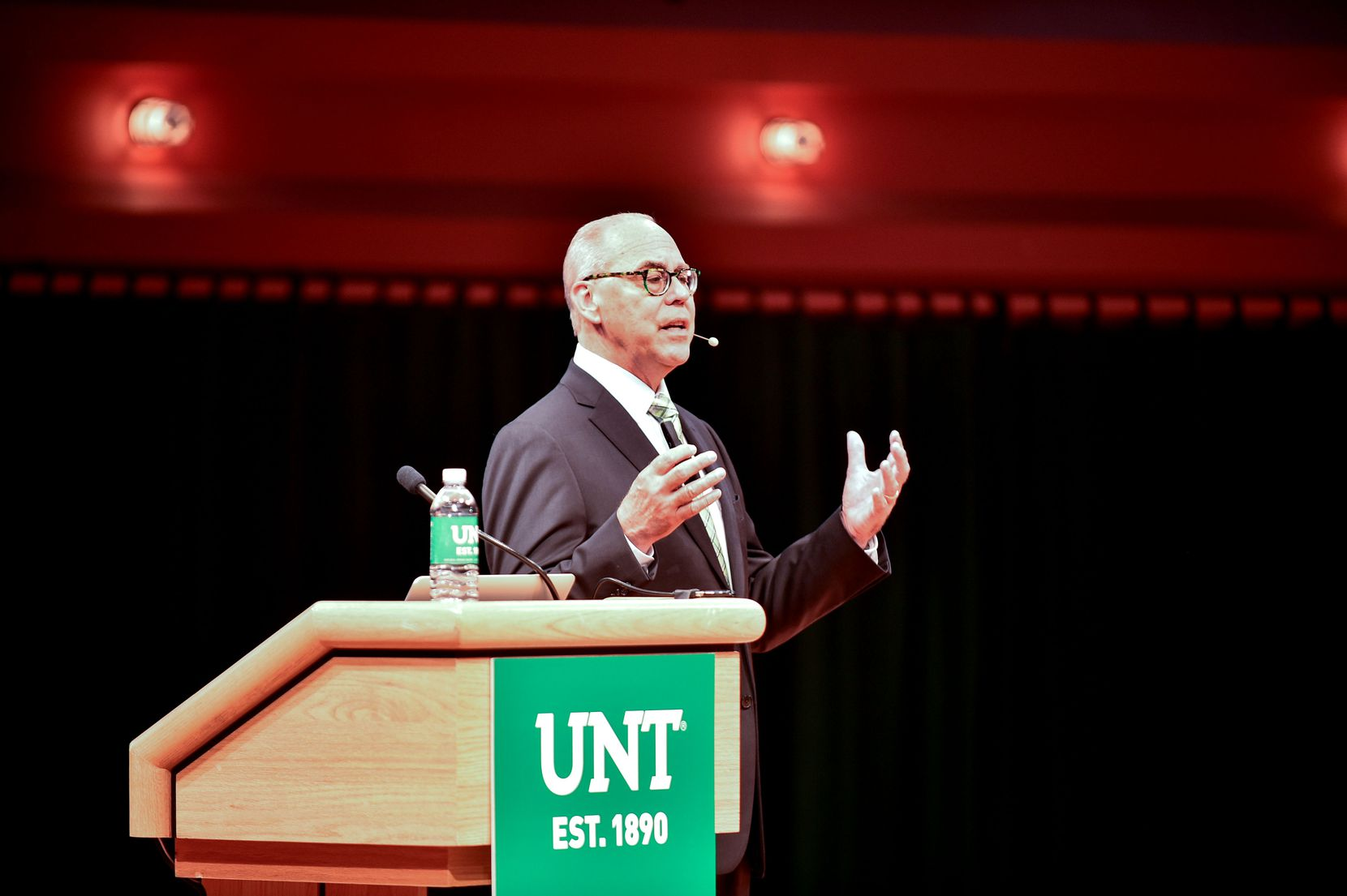 University of North Texas President Neal Smatresk gives his state of the university address in September 2016 at the Murchison Performing Arts Center.