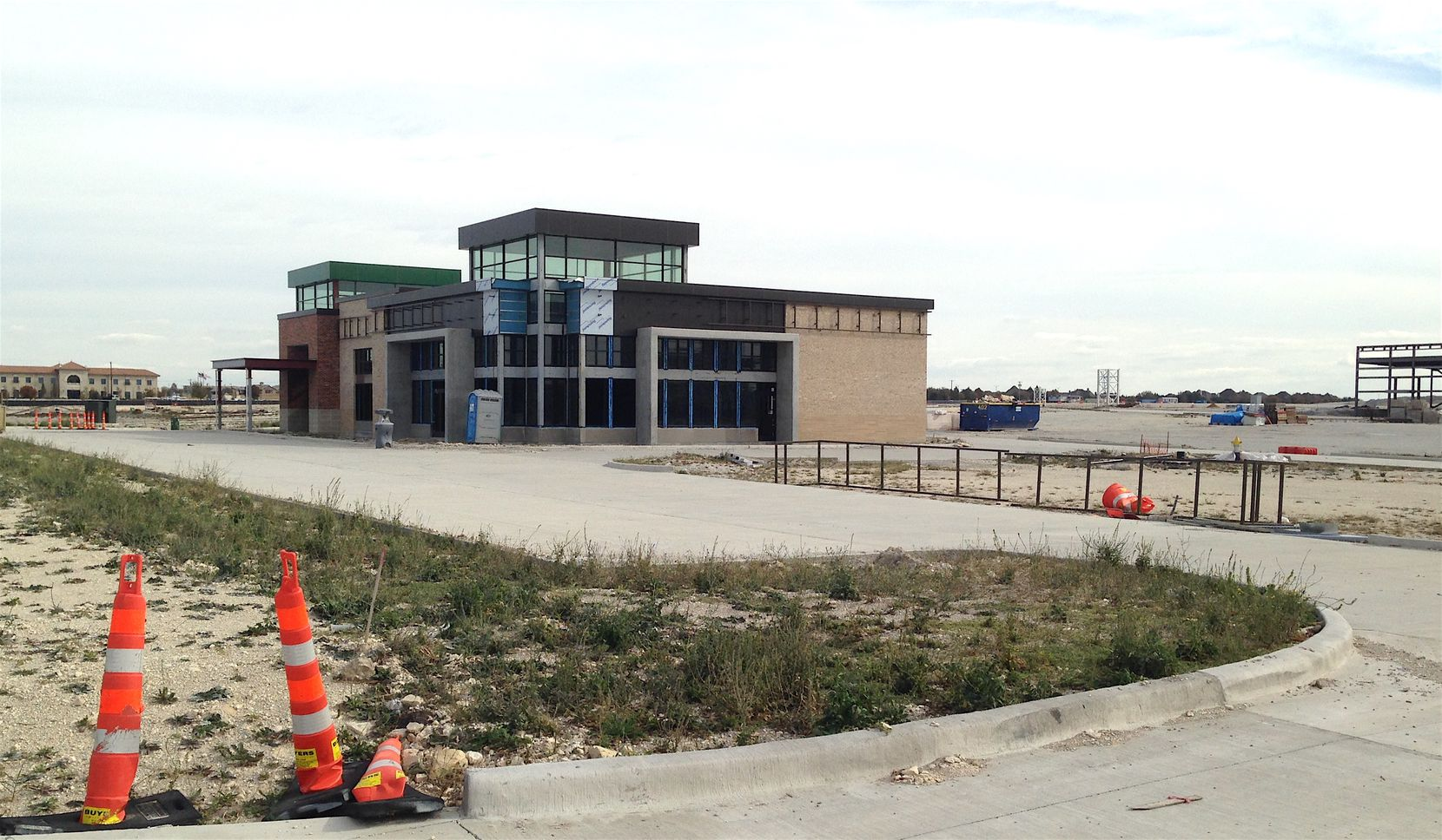 This retail building sits unfinished at the Wade Park project.