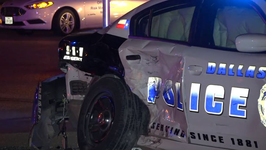 A Dallas police squad car was heavily damaged when it was hit by a possibly drunken driver Wednesday night in northwest Dallas.