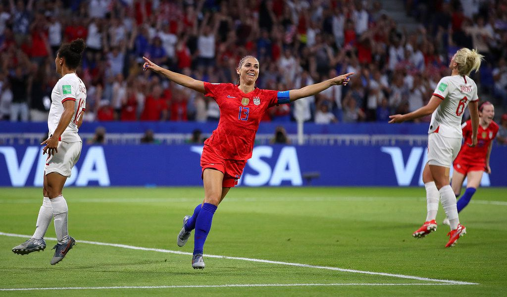 Alex Morgan of the USA celebrates after scoring during a World Cup semifinal against England at Stade de Lyon on July 2, 2019, in Lyon, France. (Richard Heathcote/Getty Images/TNS) **FOR USE WITH THIS STORY ONLY**