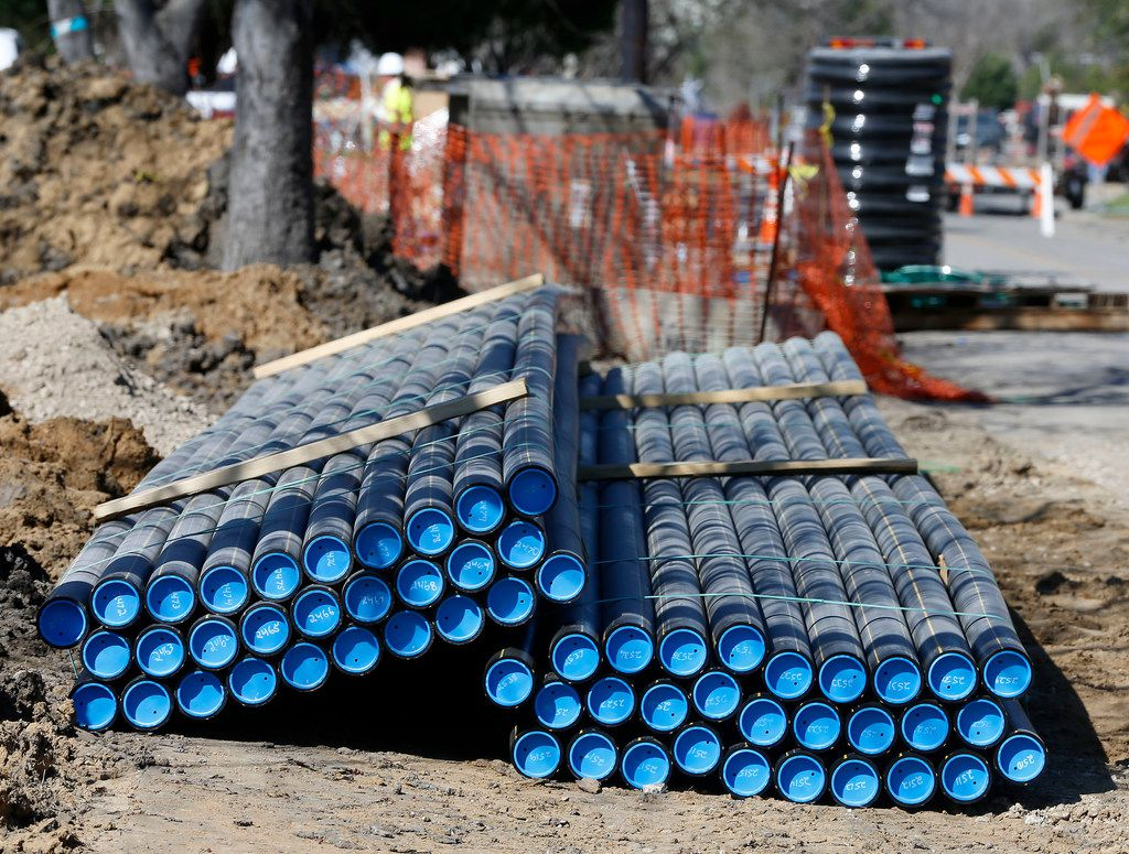 Plastic gas lines on Larga Drive, where construction crews worked to replace old steel pipes in Dallas.