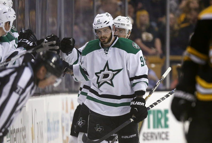 Dallas Stars' Tyler Seguin (91) celebrates his goal during the second period of an NHL hockey game against the Boston Bruins in Boston, Tuesday, Nov. 3, 2015. (AP Photo/Michael Dwyer)