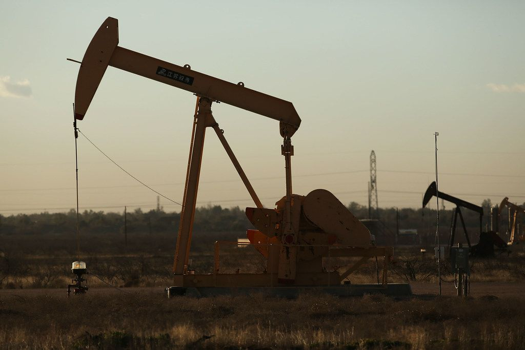 A pumpjack sits on the outskirts of town  in the Permian Basin oil field.