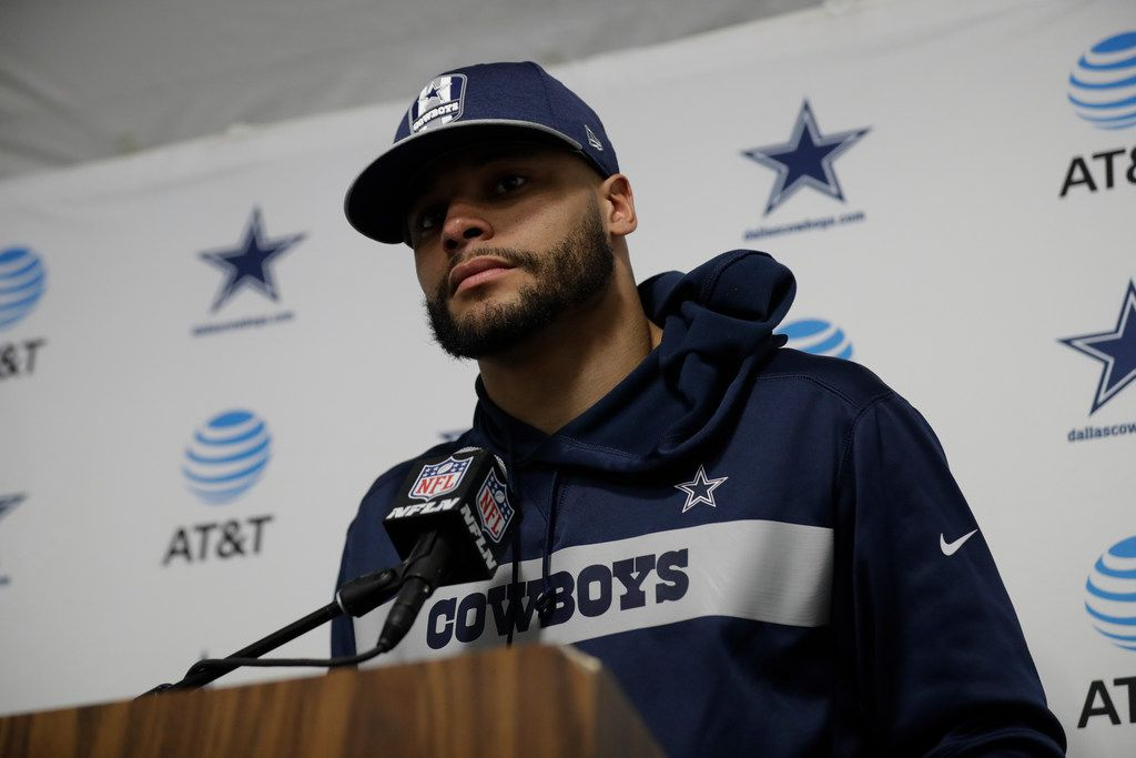 Dallas Cowboys quarterback Dak Prescott talks during a news conference after the Cowboys' loss against the Los Angeles Rams during an NFL divisional football playoff game Jan. 12.