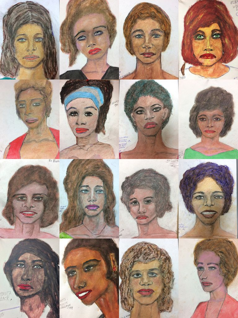 This combination of undated sketches provided by the FBI shows drawings made by admitted serial killer Samuel Little, based on his memories of some of his victims.