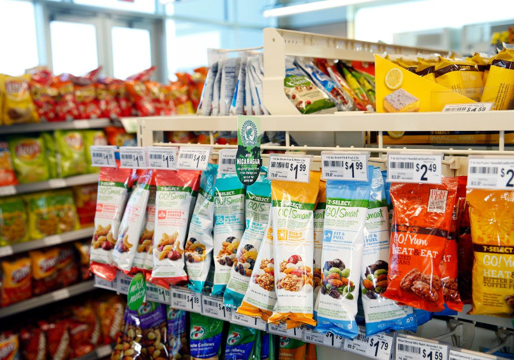 7-Eleven's new 7-Select Go! Smart and Go! Yum products are pictured on an end cap of a convenience store located at it's new headquarters building in Irving, Texas, Monday, January 23, 2017. (Tom Fox/The Dallas Morning News)