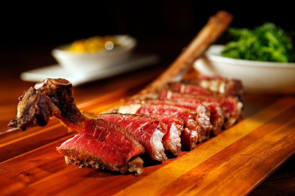 A 32-ounce, 90-day dry-aged long-bone ribeye called the 'Battle Axe' at Town Hearth goes for $125.