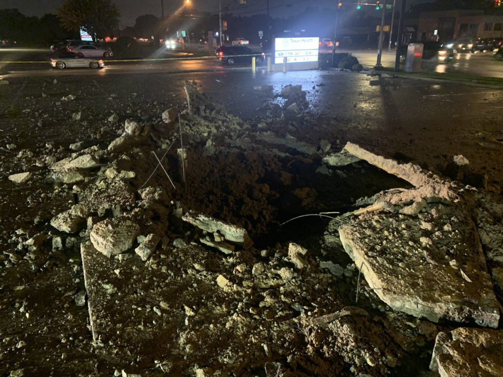 Lightning Strike Creates Crater In Fort Worth Parking Lot