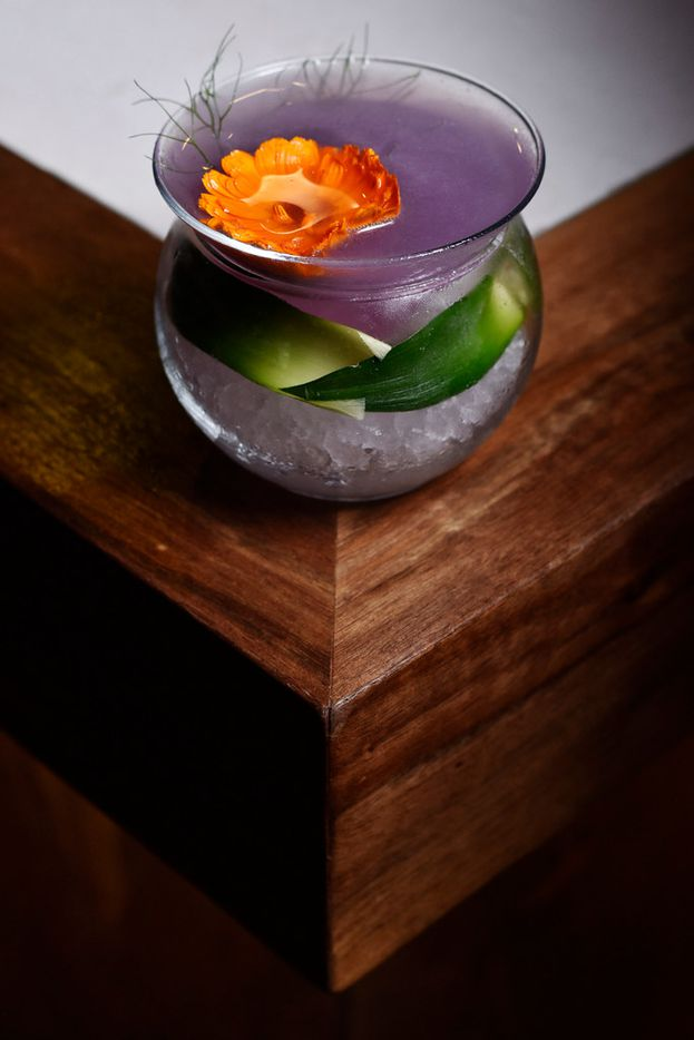 La Purple Drink at La Viuda Negra, a new speakeasy-style bar in Dallas, is made with charanda (a sugarcane spirit similar to rum), butterfly pea flower, lime juice and pineapple syrup.