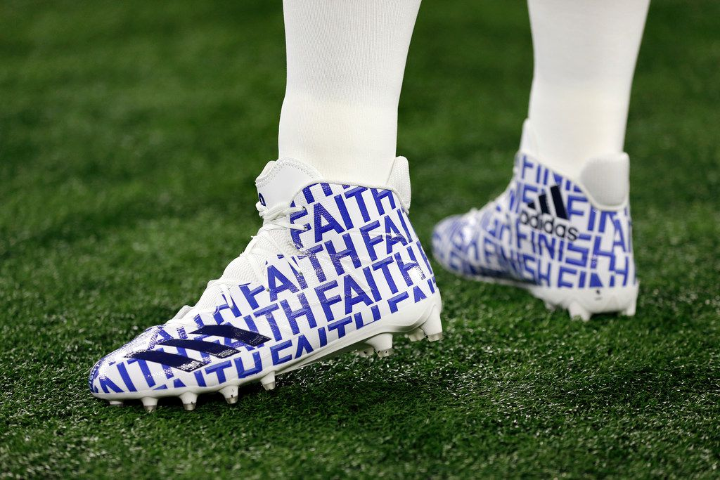 Dallas Cowboys quarterback Dak Prescott wore a special pair of Adidas with the logo FAITH on them in a game a year ago against the Washington Redskins.