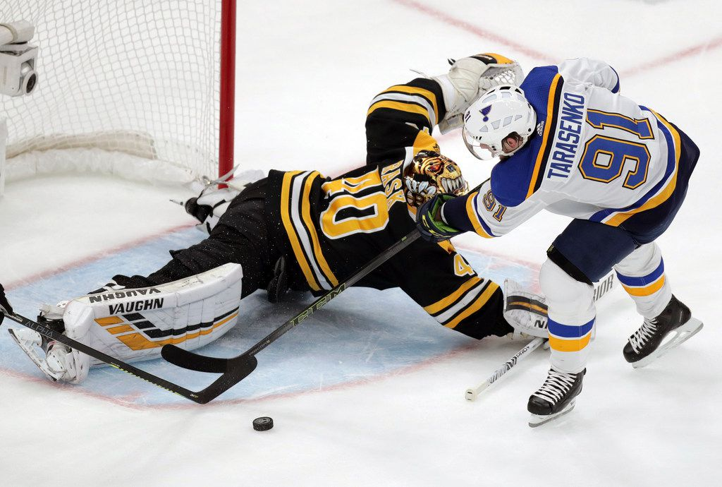 Boston Bruins goaltender Tuukka Rask (40), of Finland, makes a save against St. Louis Blues' Vladimir Tarasenko (91), of Russia, during the first period in Game 2 of the NHL hockey Stanley Cup Final, Wednesday, May 29, 2019, in Boston. (AP Photo/Charles Krupa)