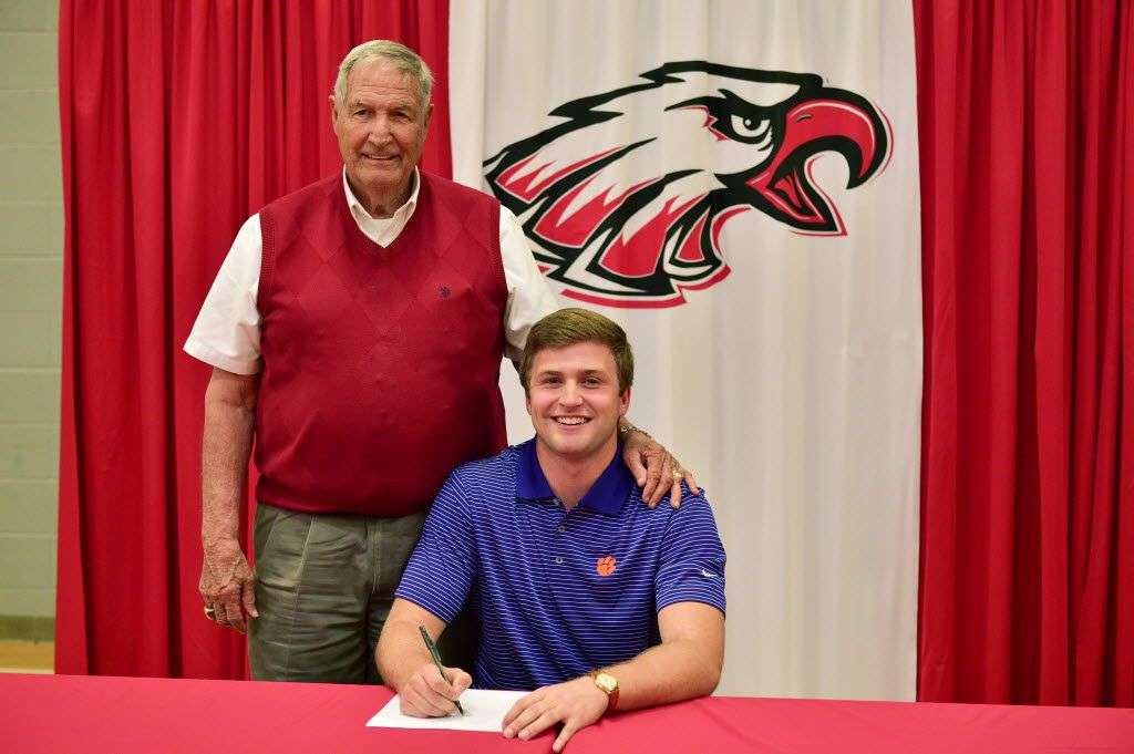 Argyle High School tight end JC Chalk, with his grandfather Gene Stallings, signs to play football at Clemson University at Argyle High School's National Signing Day event, Wednesday, February 3, 2016, in Argyle, Texas. David Minton/DRC ORG XMIT: txder