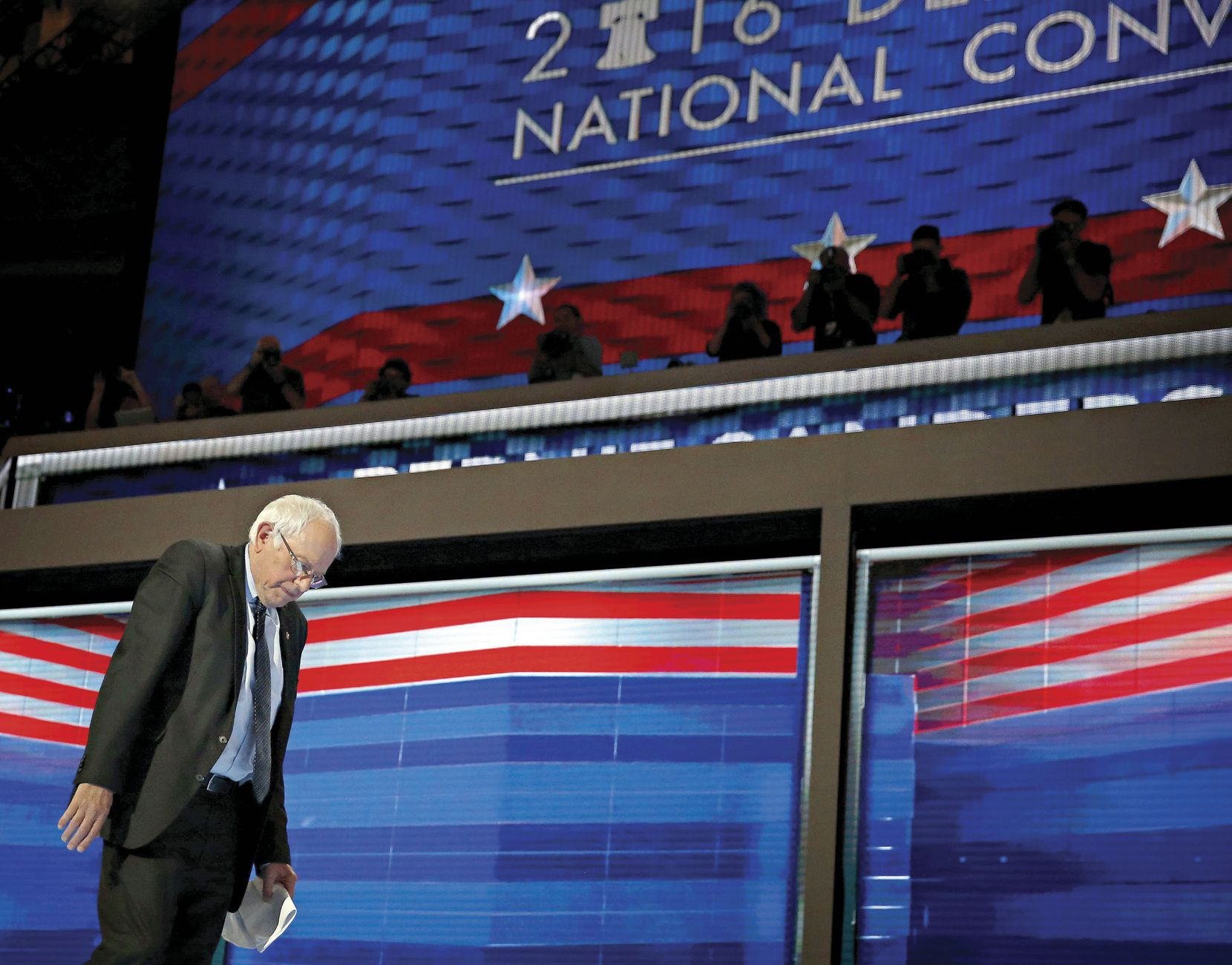 Bernie Sanders walks off the stage following his speech at the Democratic National Convention in Philadelphia on July 25. After waging a hard-fought primary campaign, Sanders endorsed his rival Hillary Clinton.