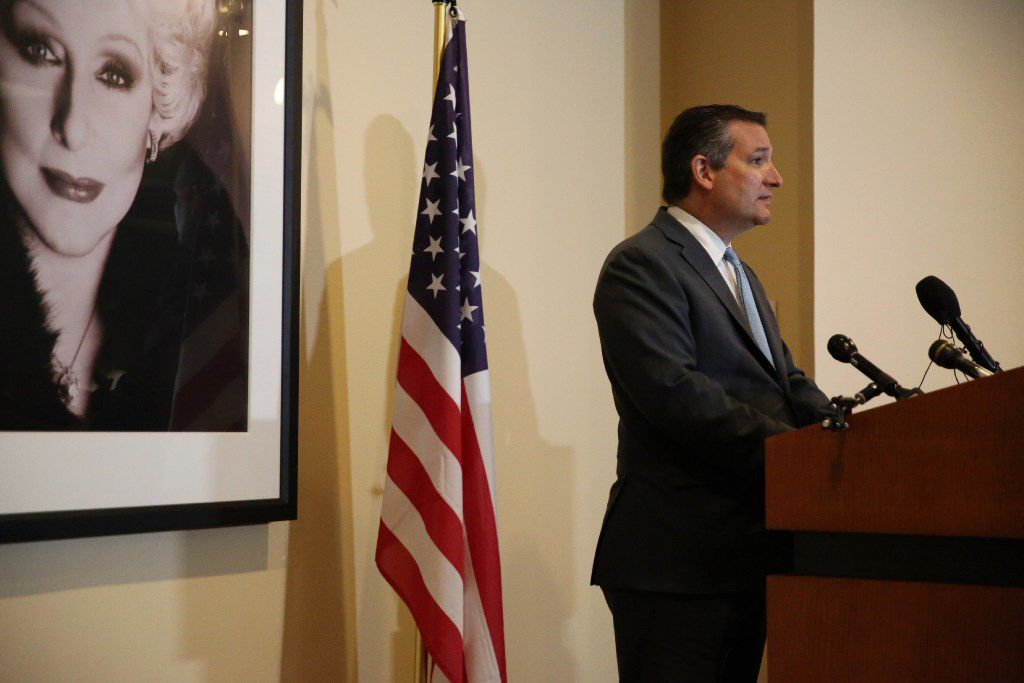 Texas Sen. Ted Cruz speaks to reporters while visiting the Mary Kay headquarters in Addison on Aug. 17, 2017.