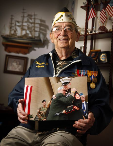Pearl Harbor survivor Houston James, 87, said he'd love to again see the Marine he hugged so emotionally on Veterans Day in 2004.