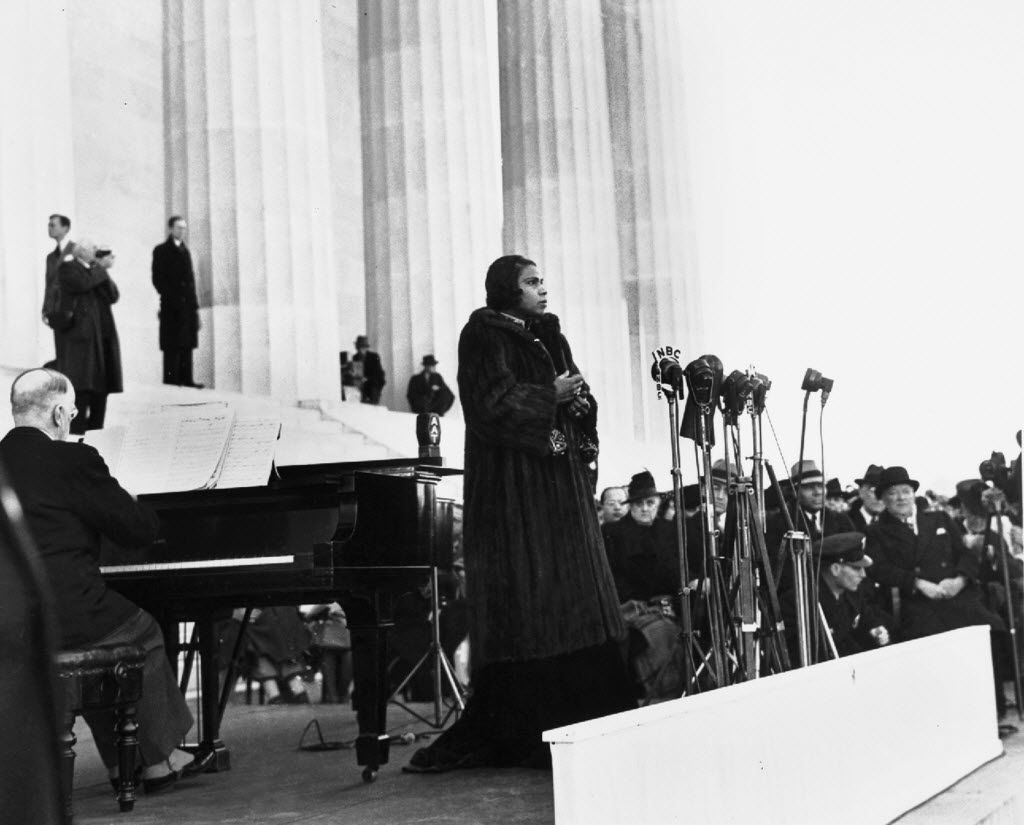 Marian Anderson (center), shown performing at the Washington Memorial in April 1939, won the first scholarship from the National Association of Negro Musicians in 1919. Today, young singers compete for the same honor in the Marian Anderson Vocal Arts Competition.