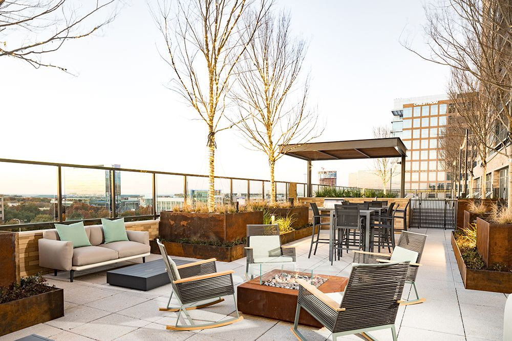 The Kincaid at Legacy apartment tower has a seventh-floor deck overlooking the neighborhood.