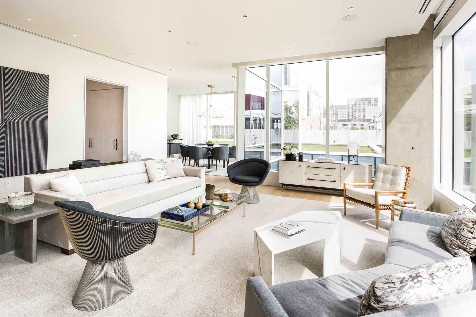The model unit for the Hall Arts Residences condo high-rise was done by Dallas designer Emily Summers.