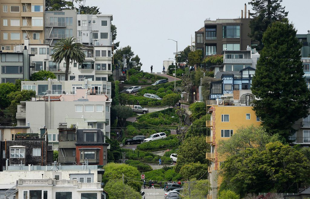 Cars wind their way down Lombard Street in San Francisco.