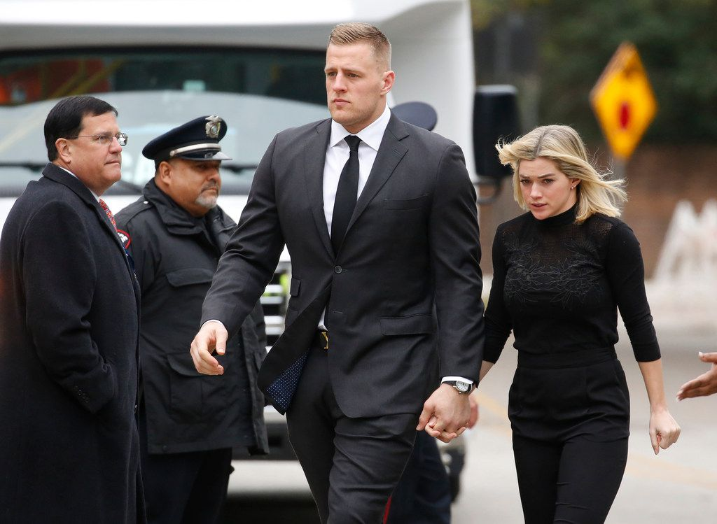 Houston Texans star JJ Watt arrives at the funeral service for George H.W. Bush, the 41st President of the United States, at St. Martin's Episcopal Church in Houston on Thursday, December 6, 2018. (Louis DeLuca/The Dallas Morning News)