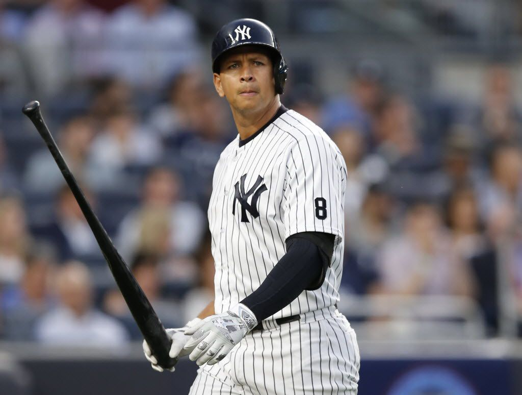 FILE - In this Monday, June 6, 2016 photo New York Yankees designated hitter Alex Rodriguez (13) reacts after striking out swinging in the fourth inning of a baseball game against the Los Angeles Angels at Yankee Stadium in New York. The New York Yankees have announced they will hold a news conference with Alex Rodriguez before the game against Cleveland on Sunday, Aug. 7, 2016.  (AP Photo/Kathy Willens, File)