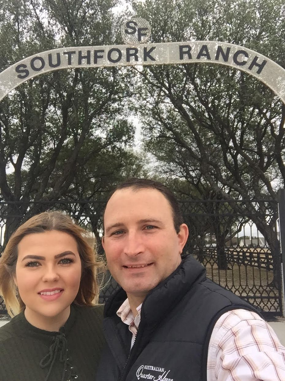 Stephanie Hoskins, of Collin County, and Brett Joseph, of New South Wales, Australia, at Southfork Ranch, site of their planned wedding and one of their first dates.