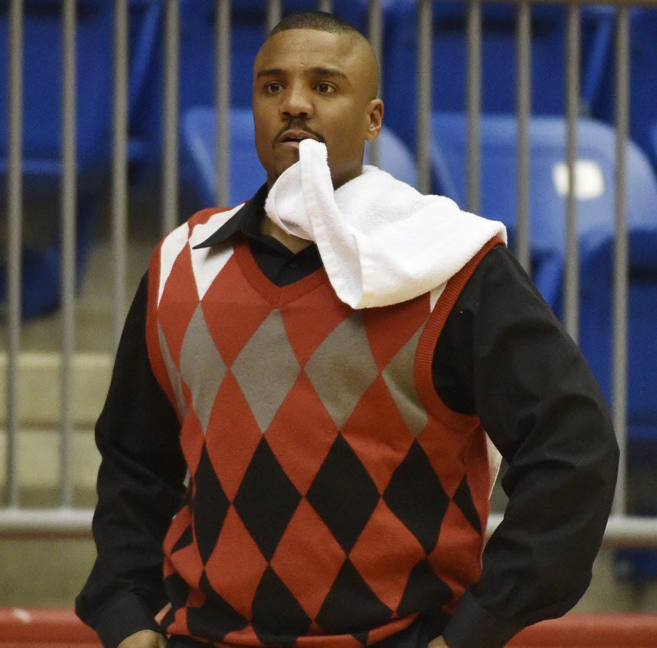 Duncanville head basketball coach Corey Chism during their boys basketball game against Mansfield at Duncanville High School in Duncanville, TX, on Dec 19, 2014.  (Michael Ainsworth/The Dallas Morning News)
