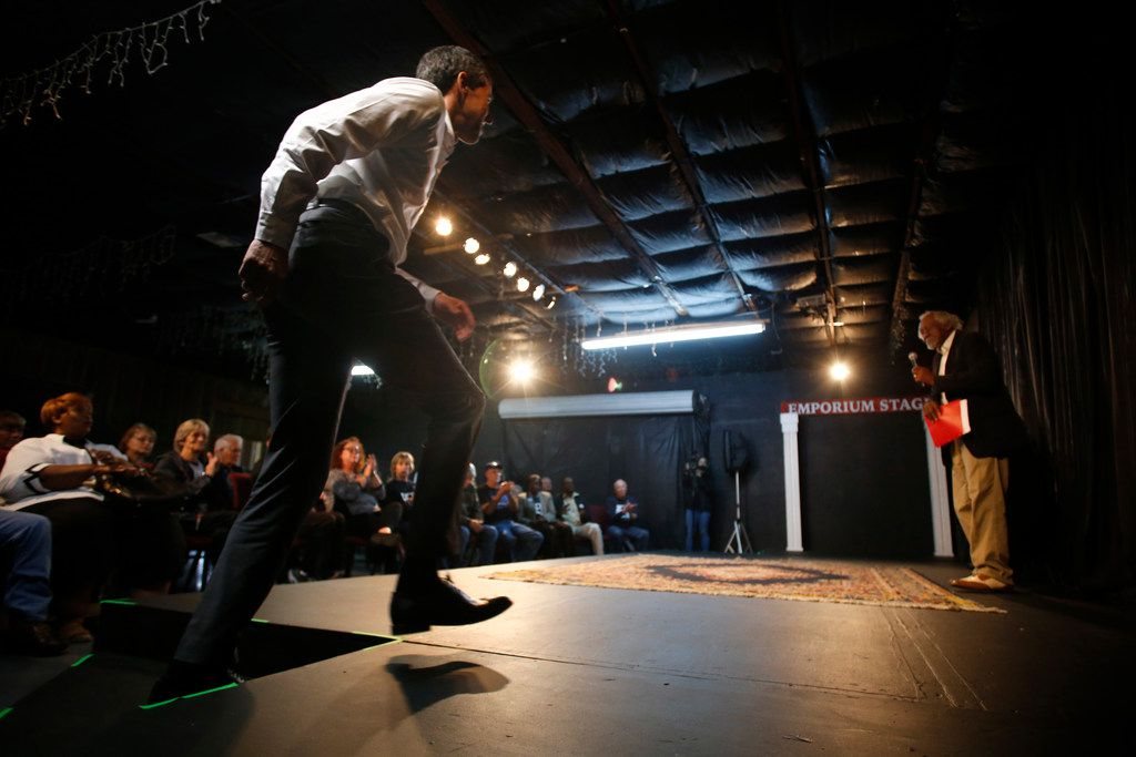 U.S. Congressman Beto O'Rourke walks onto the stage at the Emporium for the Arts in Woodville on Feb. 9, 2018.