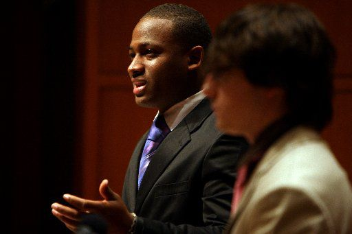 Wiley College's Tristian Love answered cross-examination by Southern Methodist University's Alex McGregor during a Campus Debate at SMU in February 2009. The debate was the completion of an invitation SMU made in 1935 to debate Wiley College.