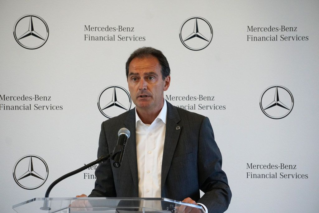 Mercedes Benz President and CEO of Financial Services Peter Zieringer speaks during the grand opening of  the Mercedes Benz Business Center in Fort Worth, Texas on Thursday, May 30, 2019. Mercedes-Benz Financial Services USA LLC held a grand opening ceremony to celebrate its newly completed business center at AllianceTexas, Hillwood's 26,000-acre master-planned, mixed-use development. Some of the features of the building include facial recognition entry, smart conference rooms, and both permanent art collections and rotating art exhibitions. (Lawrence Jenkins/Special Contributor)