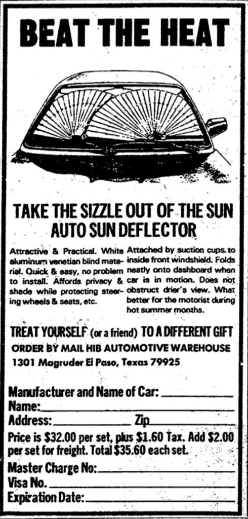 A 1983 Dallas Morning News advertisement for the Auto Sun Deflector, available by mail-order from the HIB Automotive Warehouse.