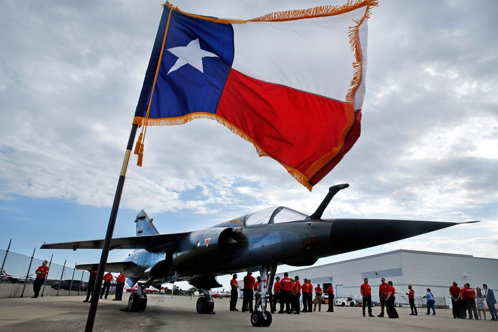 A Dassault Mirage F1 CT was on display as Airborne Tactical Advantage Company (ATAC), part of Textron Airborne Solutions, broke ground on the Adversarial Center of Excellence at Alliance Airport in Fort Worth, Thursday, October 11, 2018. ATAC plans on purchasing more than 60 of the Dassault Aviation built fighter planes that have actively flown since the early 1970's. (Tom Fox/The Dallas Morning News)