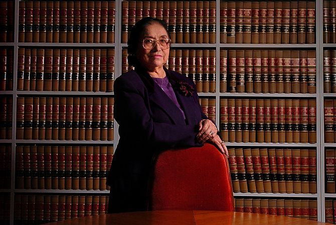 Adelfa Callejo poses for a photo in her office library. She was the first hispanic lawyer in Dallas practicing since 1961 and is regarded as the godmother of hispanic politicians in Dallas.