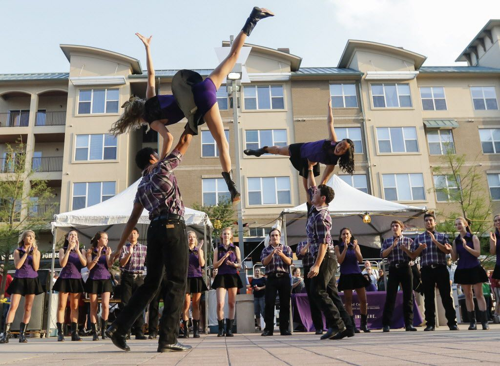 The Richardson High School Desperados dance team completes a routine on Performance Row at the Wildflower! Arts & Music Festival in Richardson, TX on Saturday, May 16, 2015.