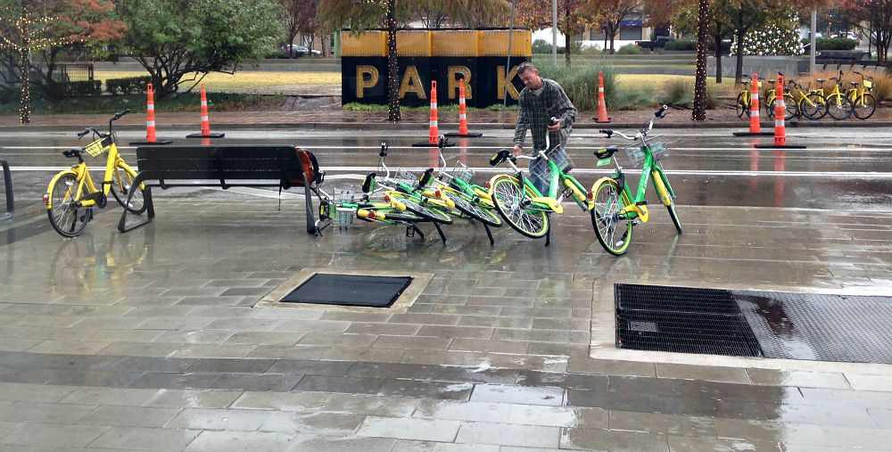 Daniel Lott was picking up bikes in downtown Dallas on Tuesday. Because, he said, it was an eyesore.