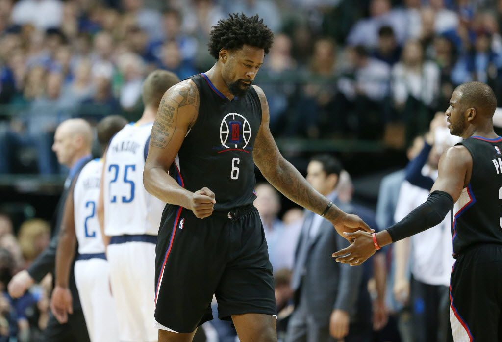 Los Angeles Clippers center DeAndre Jordan (6) and guard Chris Paul (3) celebrate in the second half during a National Basketball Association game between the Los Angeles Clippers and Dallas Mavericks at the American Airlines Center in Dallas Monday March 7, 2016. The Mavericks lost to the Clippers 90-109. (Andy Jacobsohn/The Dallas Morning News)