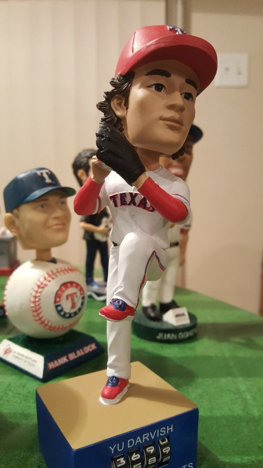 A Yu Darvish bobblehead from the collection of Johnnie Lehew. The Fort Worth resident has been collecting the figurines since 2001. (Tommy Noel/Staff Photographer)