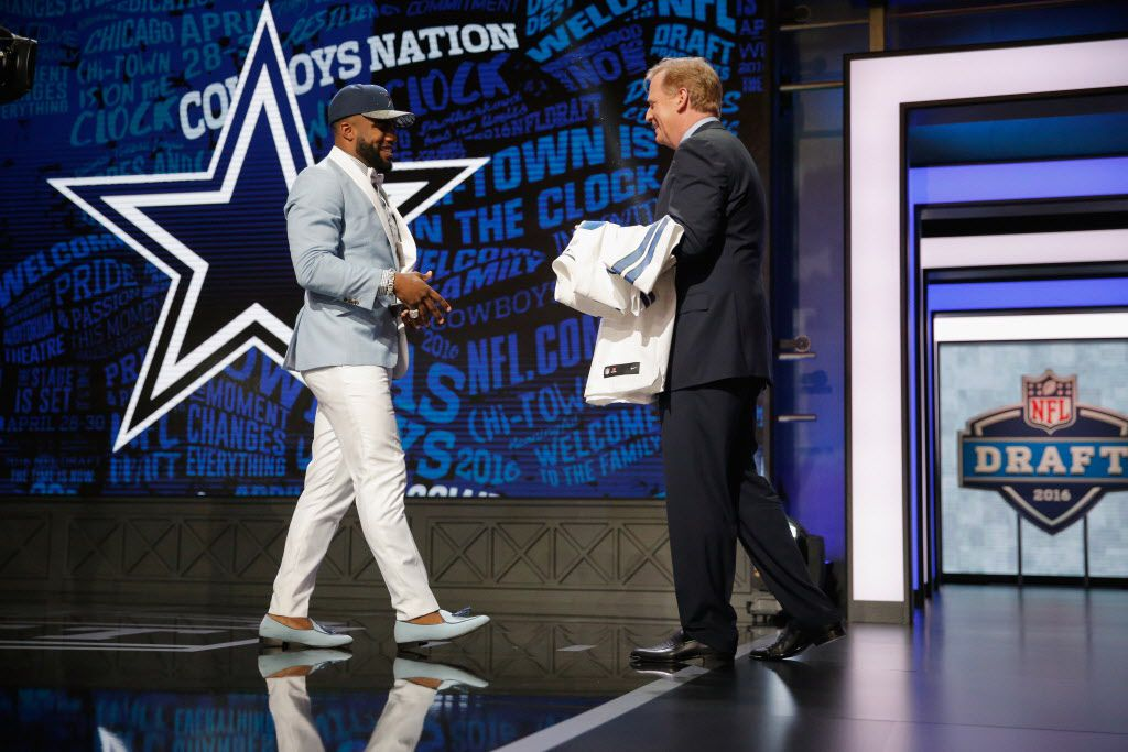 CHICAGO, IL - APRIL 28:  Ezekiel Elliott of Ohio State reacts after being picked #4 overall by the Dallas Cowboys during the first round of the 2016 NFL Draft at the Auditorium Theatre of Roosevelt University on April 28, 2016 in Chicago, Illinois.