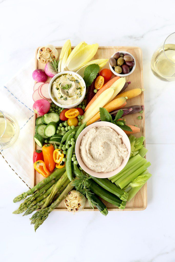 Spring Vegetable Crudités are served with White Bean Dip.