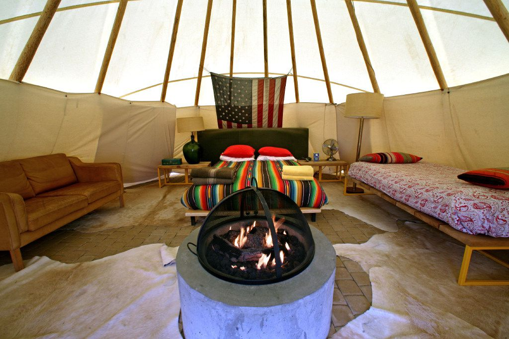 The teepees at El Cosmico are well appointed – though we couldn't find any soap. Loved the fire pit, though! (Guy Reynolds/Staff Photographer)